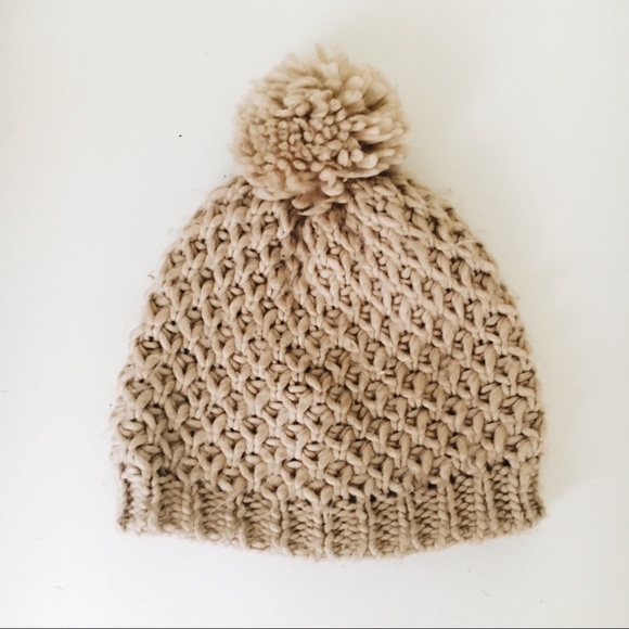 Old Navy Accessories - Old Navy Beige Knitted Pom Pom Hat